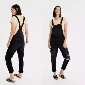 AE   NWOT Washed Black Distressed Denim Overall XL